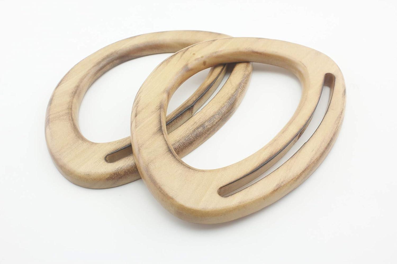 in legno nero o naturale 2 pezzi una coppia per la realizzazione di borse e borsette o come ricambio 11 1//2 inch // 30cm Nero Manici in legno per borse