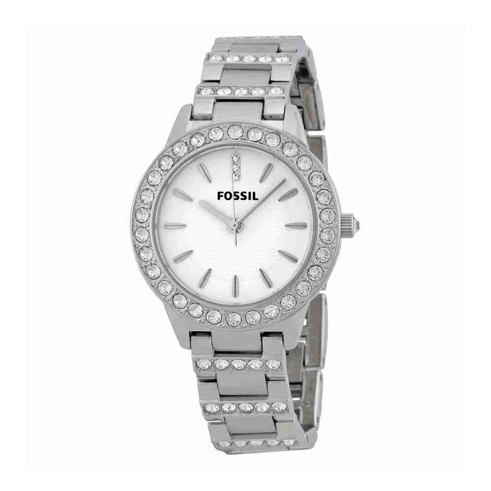 Fossil Women's ES2362 Stainless Steel Bracelet Silver Glitz Analog Dial Watch