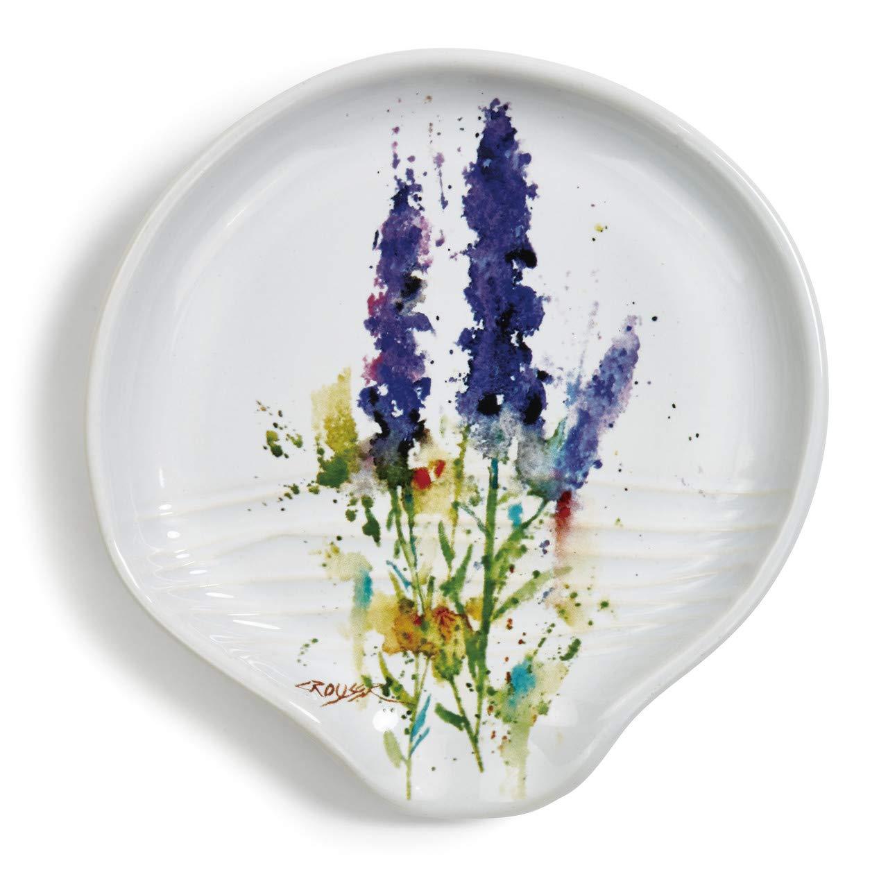 Dean Crouser Lavender Herbal Floral Watercolor Purple 5 x 5 Ceramic Stoneware Spoon Rest