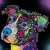 Dean Russo Dog World Quote Modern Animal Decorative Art Poster Print, Unframed 12x12