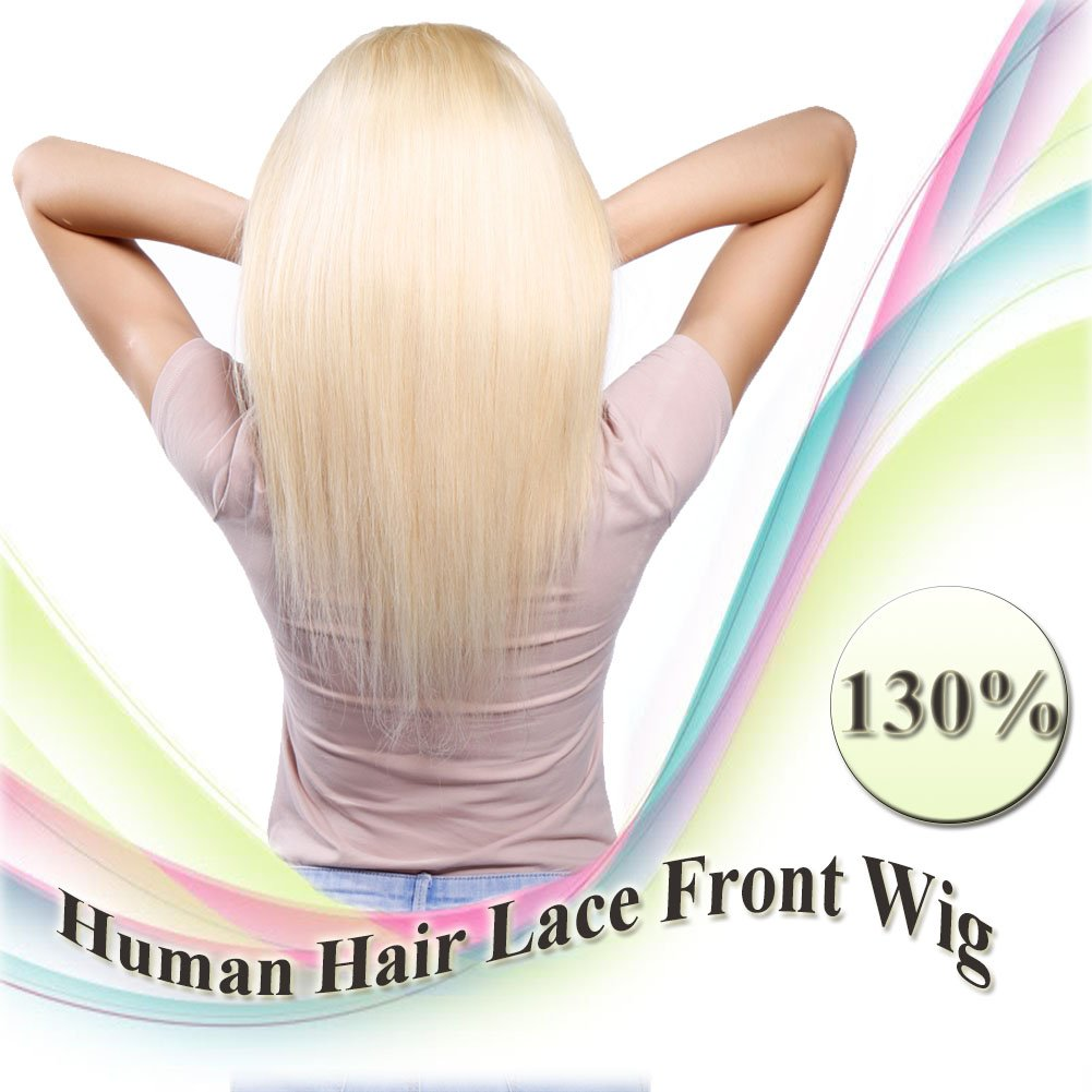 Bleach Blonde Lace Front Wigs Human Hair with Baby Hair Free Part 130% Density 100% Remy Hair Silky Straight for Women (14 inch, #613)