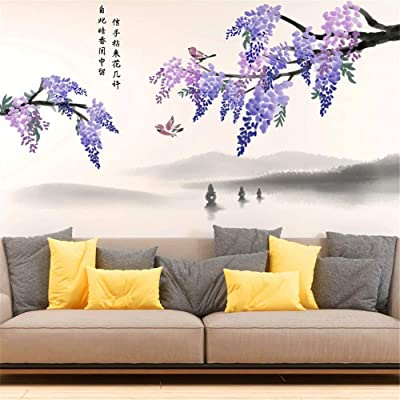 AAPBB Plant Flower Art Decals Flower Wall Stickers Waterproof Vinyl Self Adhesive Removable Art Murals for Living Room Bedroom Nursery House DIY Decoration …: Kitchen & Dining