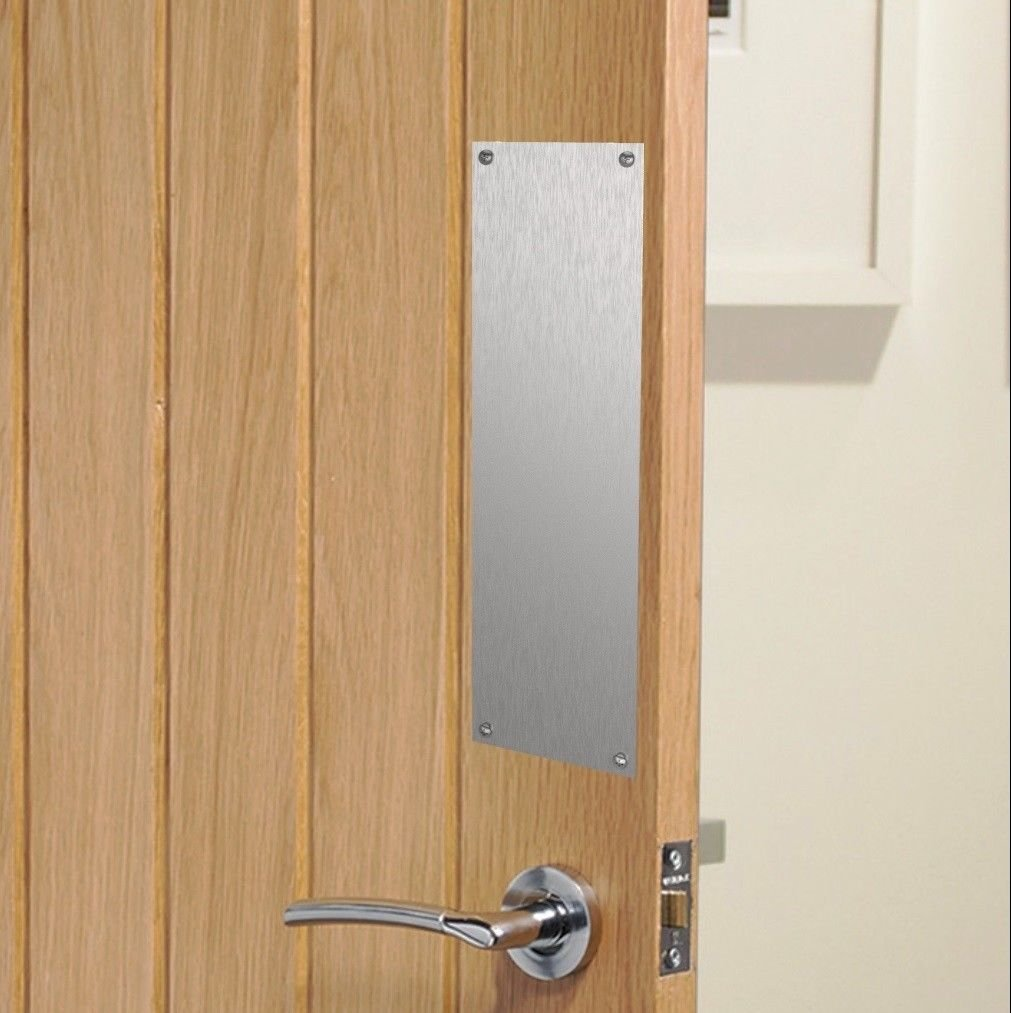 Brushed Stainless Steel Sheet Finger Door Push Plates - Various Sizes (300x75mm) Display Products Ltd