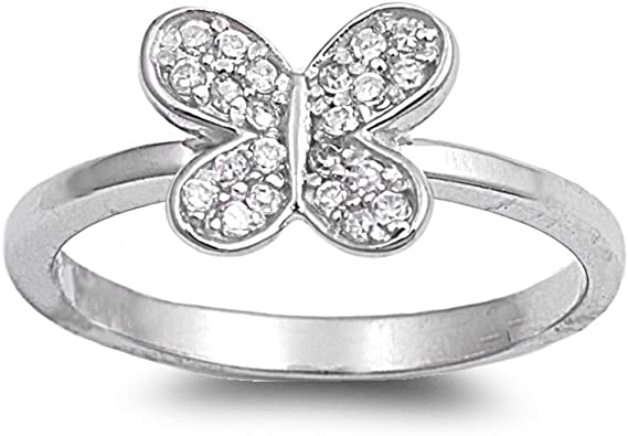 CloseoutWarehouse Cubic Zirconia Butterfly Fashion Ring Sterling Silver