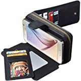 Samsung S6 Case, CORNMI Smart Design Stunning Multi Functional Leather Wallet Case with 10 Credit Card Holder & Wrist Strap & Mirror for Samsung Galaxy S6 - Black