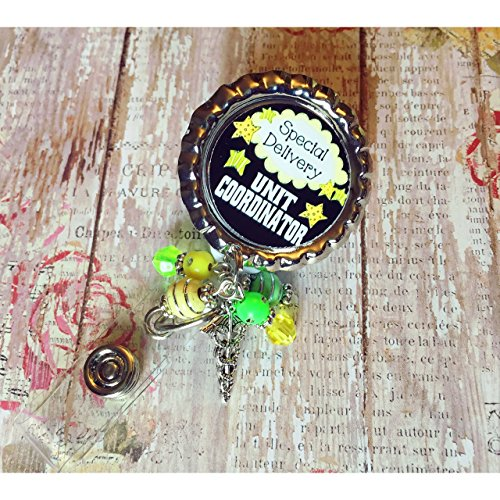 Nurse RN special delivery unit coordinator spring clip Badge ID holder with retractable reel matching beads and choice of charm
