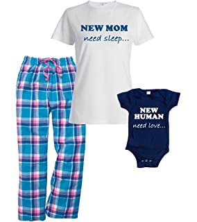 Footsteps Clothing New Mom, Need Sleep Pajamas and Matching New Human, Need Love Onesie
