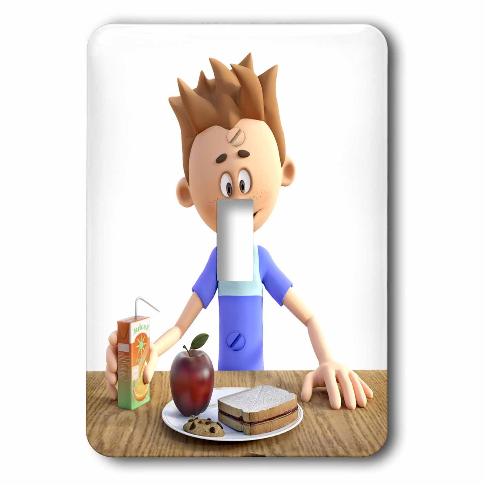 3dRose Boehm Graphics Cartoon - A Cartoon Boy with His School Lunch - Light Switch Covers - single toggle switch (lsp_282397_1)