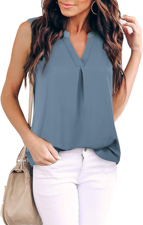Gaharu Women's Summer Tank Blouse Casual V Neck Sleeveless Tunic Top Shirt