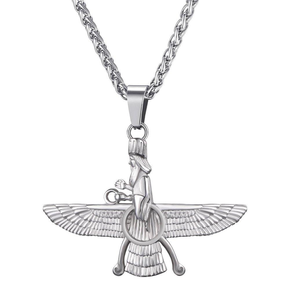 Stainless Steel Pt Farvahar Necklace Iranian Persian Art Iran Persia