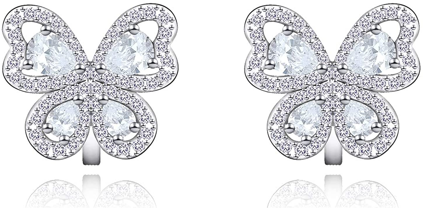 YOQUCOL Butterfly shape Cubic Zirconia Crystal Clip On Earrings Non Pierced Silver Stud for Women Girls