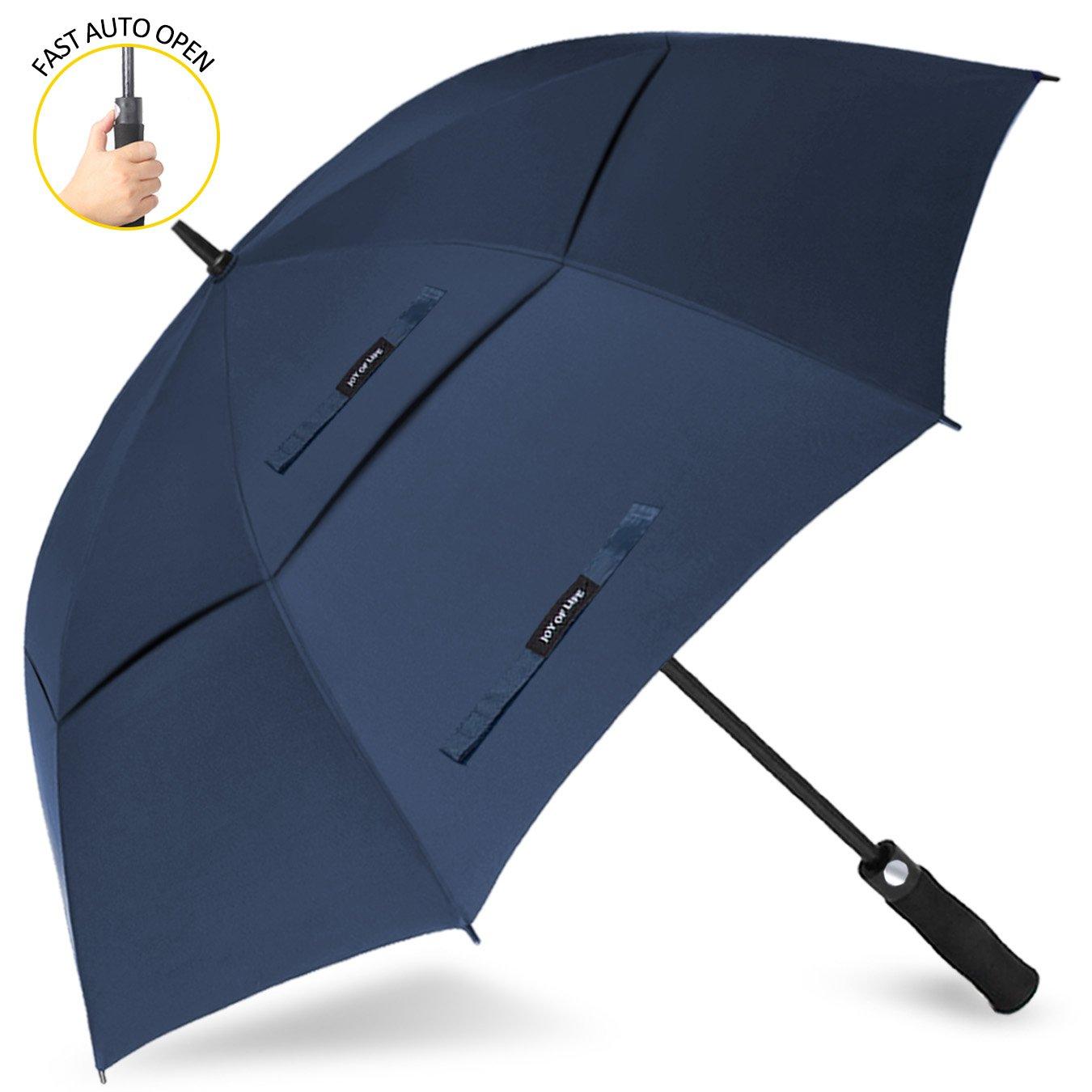 ゴルフ傘 長傘 ワンタッチ 自動開け大きな傘 100cm 梅雨対策 台風対応 ビジネス用 メンズ B071KFPX19青 傘の長さ100cm(62inches)