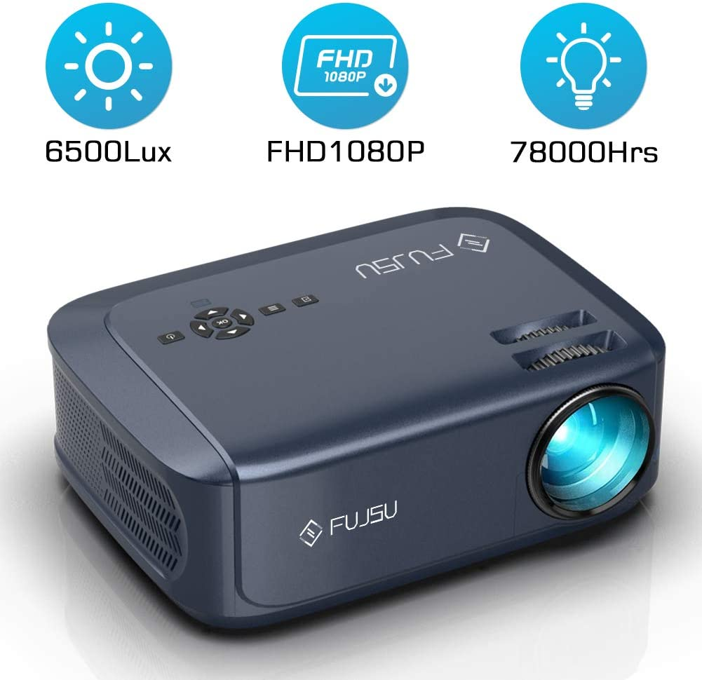 1080P Outdoor Projector, Video Projector Suitable for PowerPoint Presentation, Home Theater Full HD Movie Projector, Compatible with Laptop, Smart Phone, HDMI, iOS, PS4, USB