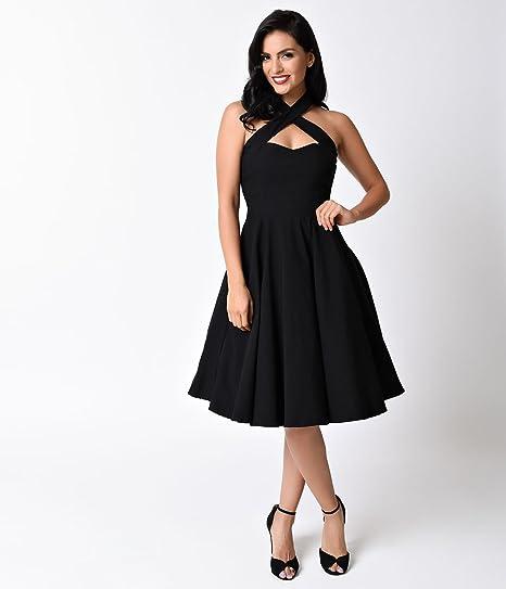 1d8a2148dcb Amazon.com  Unique Vintage 1950s Style Black Criss Cross Halter Flare Rita  Dress  Clothing