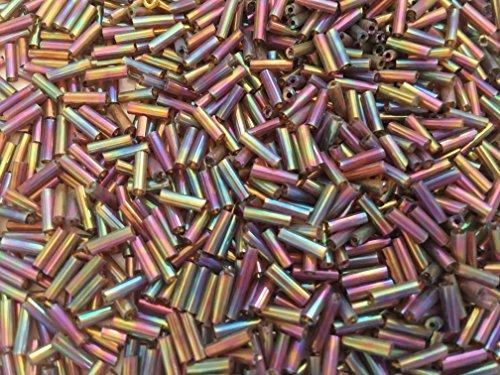 - Czech Bugle Beads 40 gr / 1.4 oz Eggplant Iris Iridescent Glass Tube Size #3 7mm