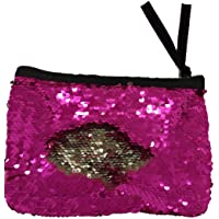 BullSpring Embrague del bolso de las lentejuelas, monedero de embrague del sobre negro de Funky Glitter, bolso brillante del embrague del bolso de la boda Monedero de la cartera (Rose roja plateada)