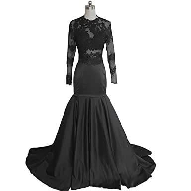 Fair Lady Sexy Black Lace Mermaid Prom Dress 2018 Sheer Long Sleeves African Evening Dresses Prom