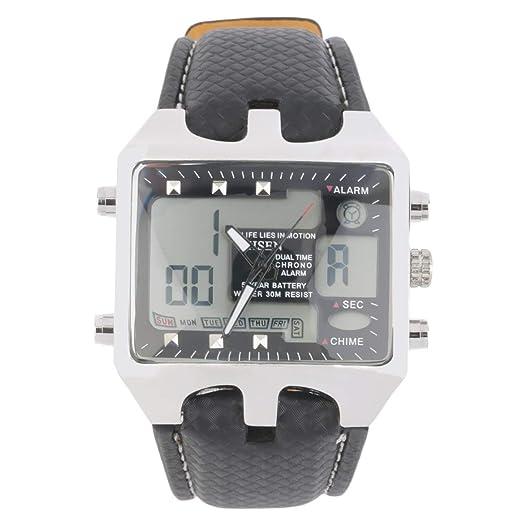 89d7eebd798d Reloj de Pulsera Deportivo para Hombre Hombre a Prueba de Agua con Pantalla  Doble LED Impermeable Negro  Amazon.es  Relojes