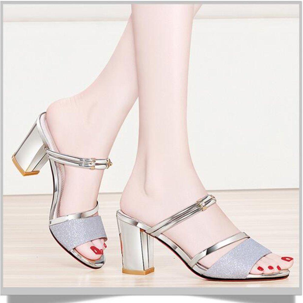 Unbekannt FEI Mädchen Sandalen Hausschuhe Mode High Heels Heels Heels Sandalen Freizeitschuhe Blockabsatz für Abend Hochzeit Rutschfest (Farbe   Silber, größe   EU35 UK3 CN34) B07CHNVVW1 Tanzschuhe Modern d57bb6