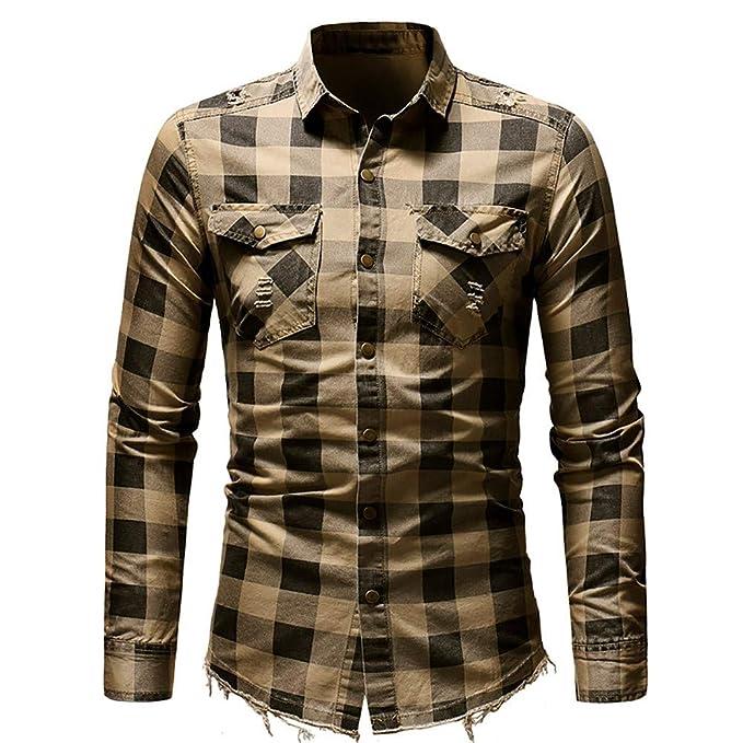 Bestow Camisa de Cuadros a Manga Larga de los Hombres Camisa de Cuadros a Camisa de
