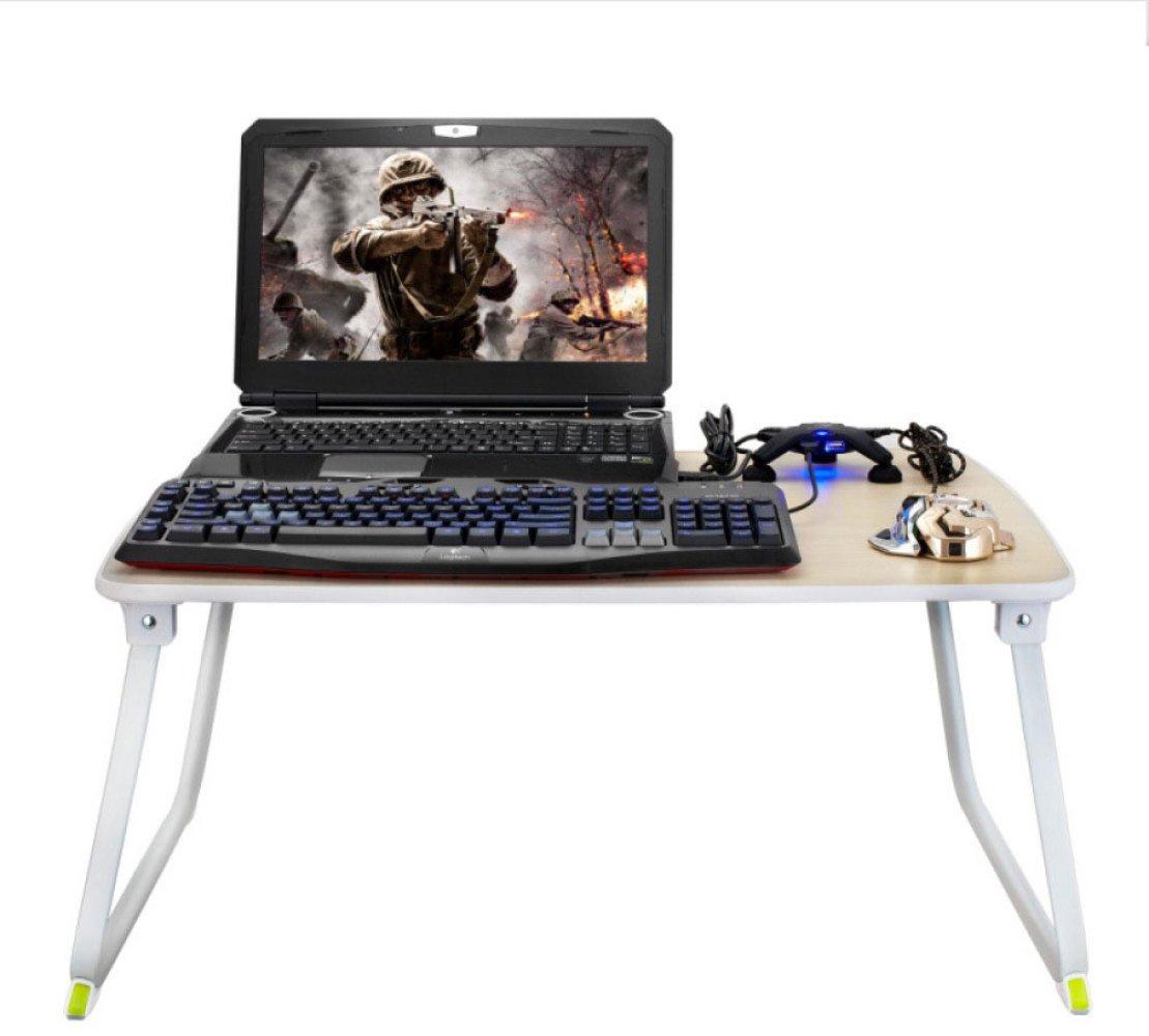 ZEXIKUN Laptop-Tabelle, Die Faulen Schreibtisch-Studenten-Schreibens-Tabelle Auf Bett-Klapptisch Im Freien Erhöht,Weiß
