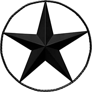 Black Barn Star – Metal Stars for Outside, Texas Star Metal Wall Décor for House, Iron Rustic Vintage Decoration, Western Country Home Farmhouse Wall Art Outdoor Decorations (24