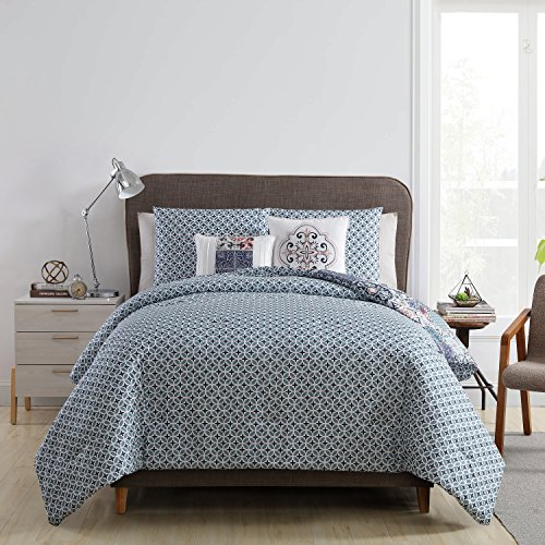 Piece Down Set 5 (VCNY Home Azure 5 Piece Comforter Set, King, Multicolor)