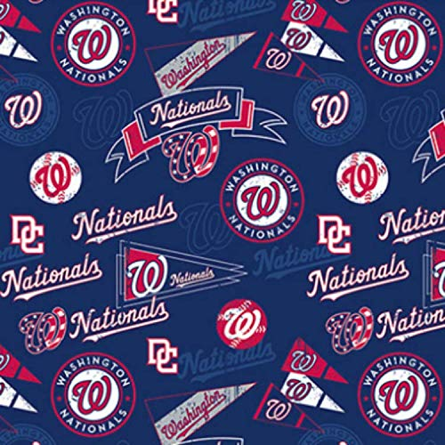 Fleece Washington Nationals Vintage Navy Blue MLB Pro Baseball Sports Team Fleece Fabric Print by The Yard (A412.37)