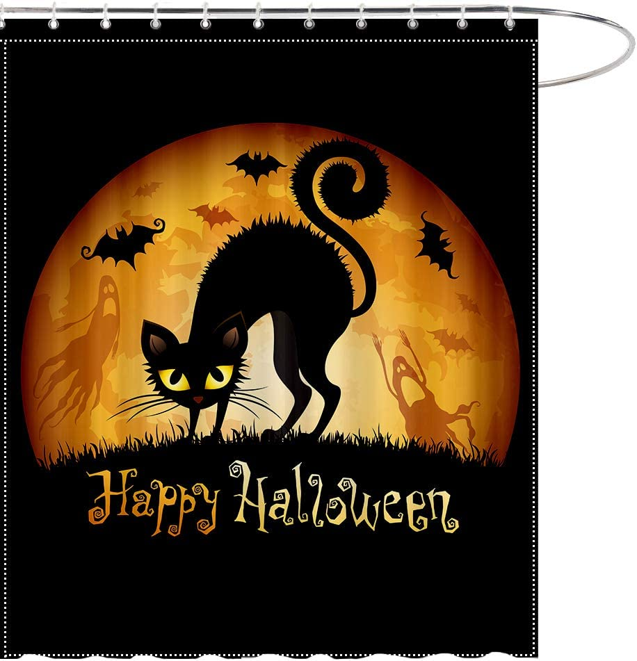 MAEZAP Fall Halloween Black Cat Shower Curtain Moon Ghost Bat Bathroom Decor Waterproof Polyester with Hooks 69x70 Inchs
