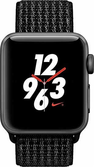 Apple Watch Nike+ Series 3 (GPS + Cellular), 38mm Space Gray Aluminum Case with Black/Pure Platinum Nike Sport Loop - Space Gray Aluminum (Unlocked) ...