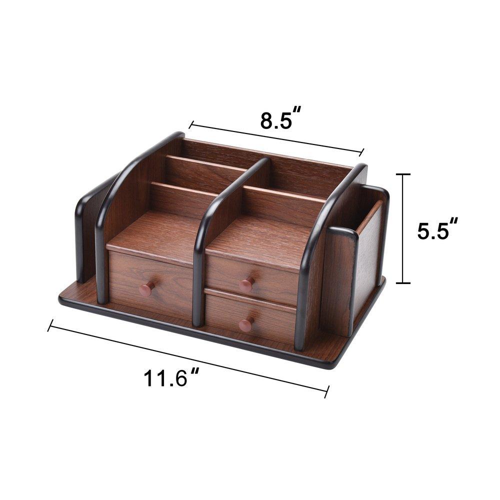 Siveit Wooden Desk Organizer, Wood Desktop Organizer with 3 Drawers 2 Shelves and 3 Compartments Office Supplies Holder Desk Accessories (Desk Organizer-3+3+2) by Siveit (Image #3)
