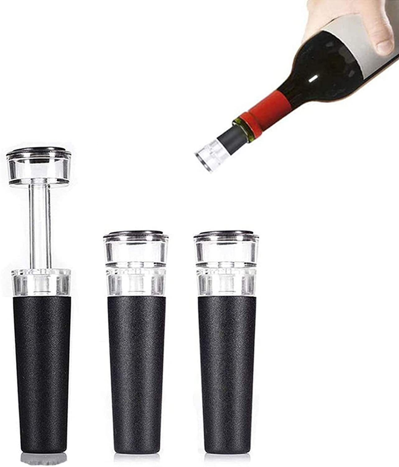 3-Piece Vacuum Wine Stopper, Wine Bottle Stopper, Reusable Wine Stopper Food Silicone Material Can Keep Fresh And Sealedvery Suitable For Wine Lovers