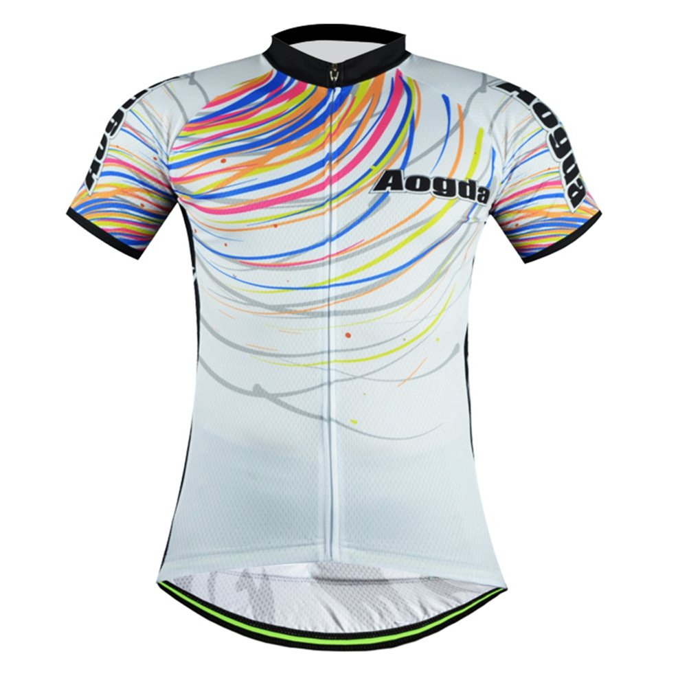 Uriah Cycling Jersey半袖Reflective Chest 37.8''=Tag M Rainbow White B071RT9QZ1