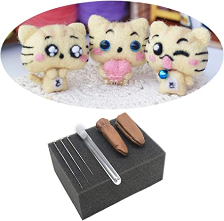 ysz 3 Emoji gatos fieltro Aguja Kit Queensland Original lana, Tutorial, 3 agujas, 1 almohadilla de espuma para afieltrar Starter (Pack de 3, tamaño 6 x 4 x 3 cm): Amazon.es: Hogar