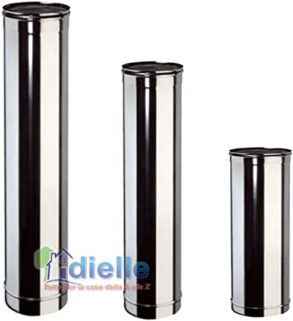 Canna fumaria DN 100 lunghezza 0.5 mt L 500mm tubo acciaio inox 316 INOX