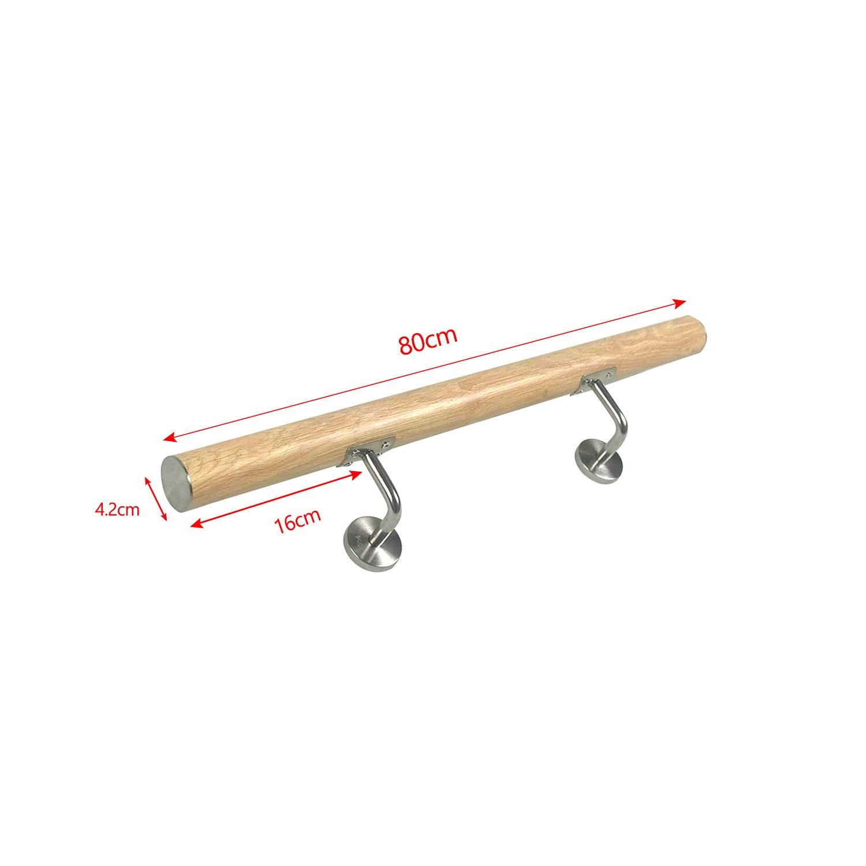 FROADP Pasamanos de acero inoxidable AISI304 Contra la barandilla de la pared para escaleras internas y externas vetas de madera oscura, 80 cm