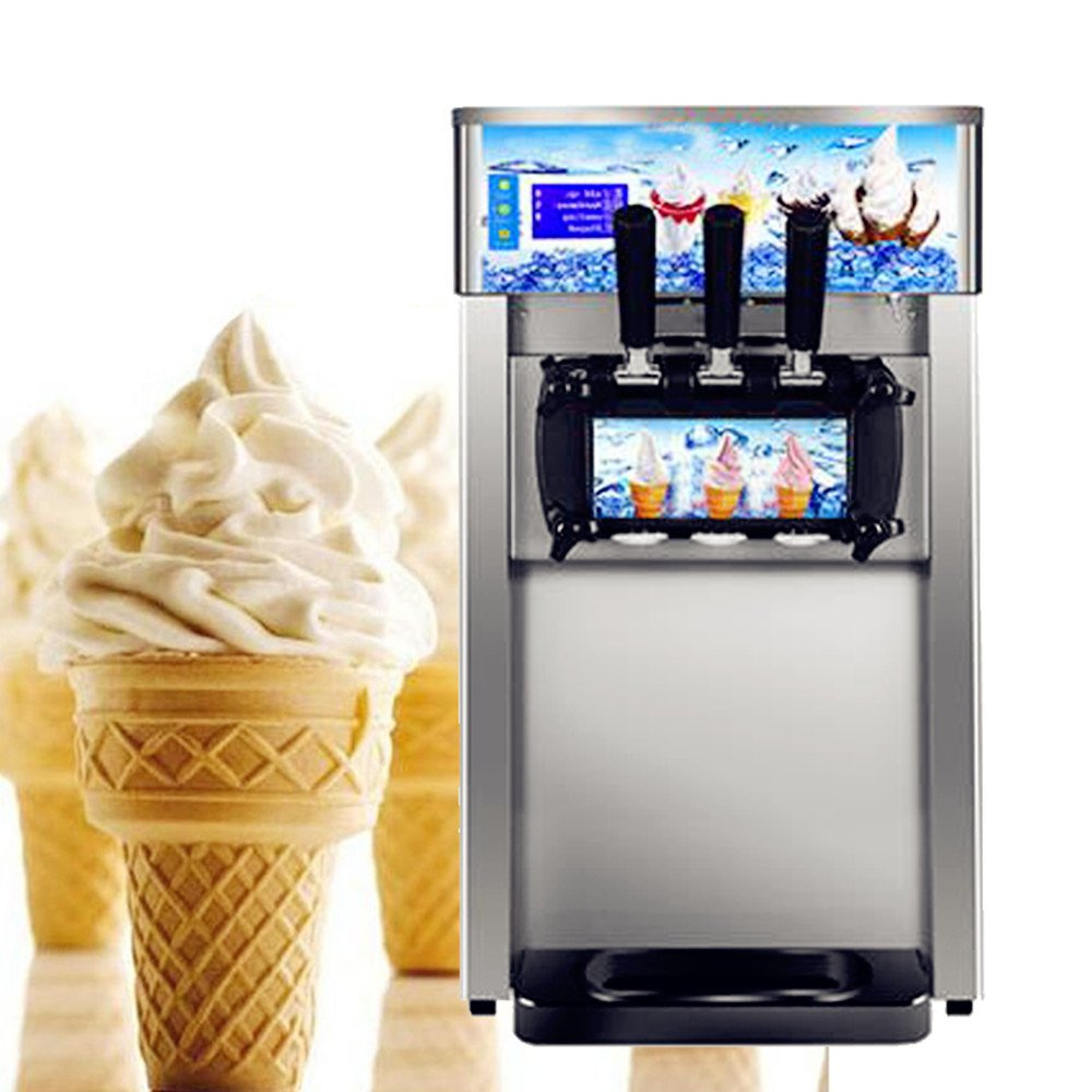 Zorvo Commercial Ice Cream Machine,Desktop Ice Cream machine Stainless Steel low power ice cream machine Commercial Ice Cream Machine Maker Great for Recreation Center Churches and Camps