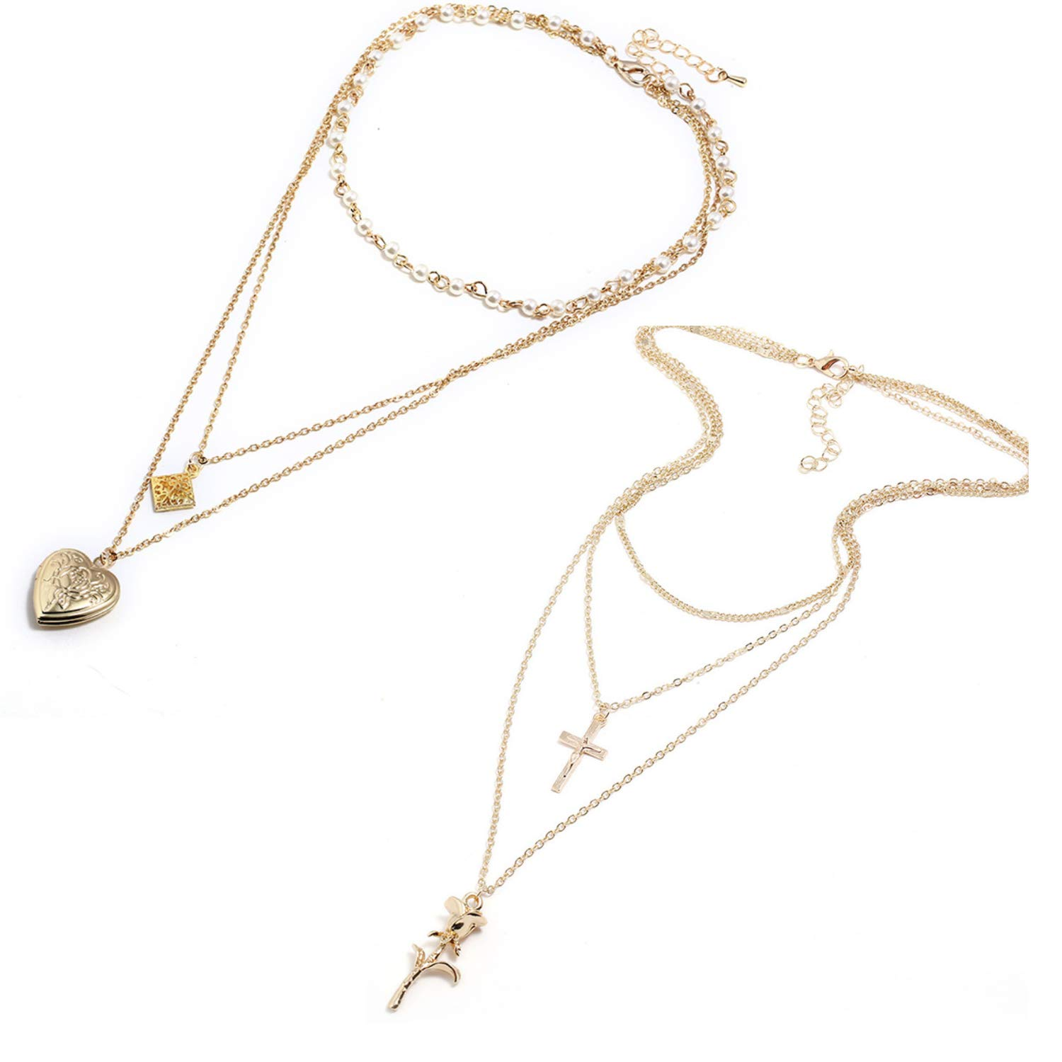 ISAACSONG.DESIGN Vintage Bohemian Statement Long Necklace for Women Gold Plated Star Healing Stone Charms (2 Pcs Rose Flower Set)