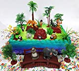 Jungle Book Birthday Cake Topper Set Featuring Figures and Decorative Themed Accessories