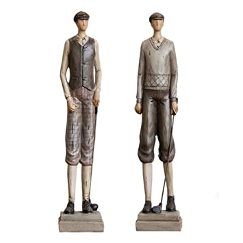 Sungl Sculpture Deux Golfeurs Statue Resine Europe Art