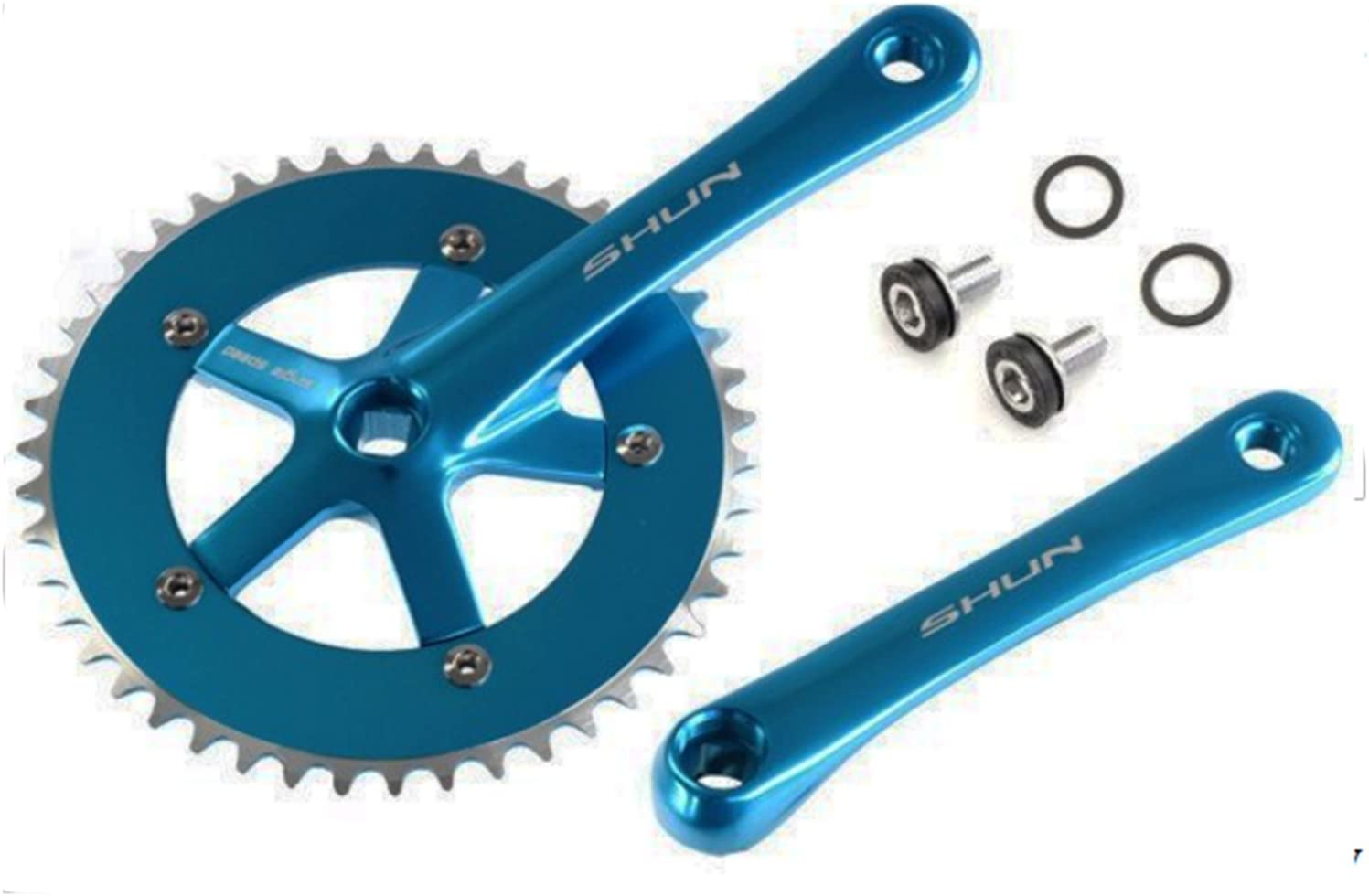 Plato y Bielas BLANCO Aluminio CNC Bicicleta Fixie Singlespeed 165 x 46 T 3742