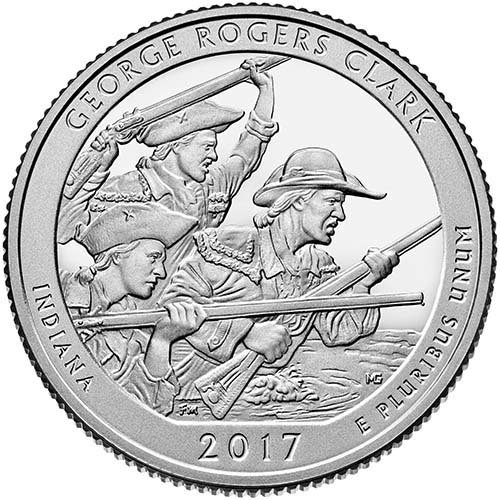 2017 P BU George Rogers Clark, Indiana National Park NP Quarter Brilliant Uncirculated US Mint ()
