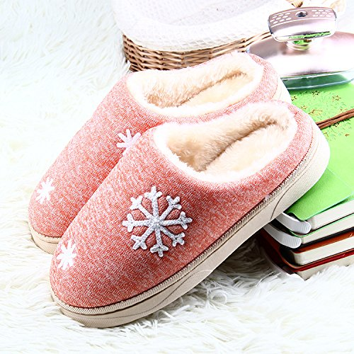 LDMB Paar Paket Ferse Verdickung warme indoor Schneeflocke Baumwolle Hausschuhe 2 Paare , red , 35/36