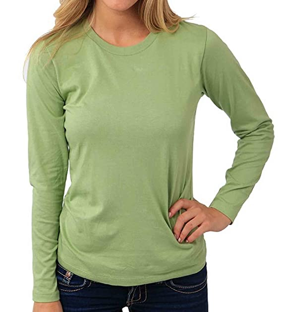 22a340b615 Green Outfitters Women's 100% Organic Soft Cotton Long Sleeve Tee Shirt  (Avocado) (