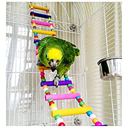 JJ Store Wooden 80cm Parrot Ladder Bridge Pet Bird Toys with Hooks