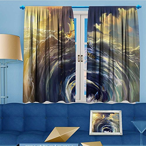 vanfanhome Rustic Home Decor Curtains,the Whirl Maelstrom Seascape ery and Dark Clouds Sun Setting,Living Room Bedroom Window Drapes 2 Panel Set,108