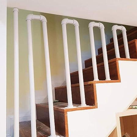 H&RB-rack Hierro Forjado de Escalera Baranda, T-Forma de Tubo galvanizado, Estilo Industrial del Tubo de Agua Styling Antideslizante Baranda, Adecuado para escaleras del ático,Blanco,75cm: Amazon.es: Hogar