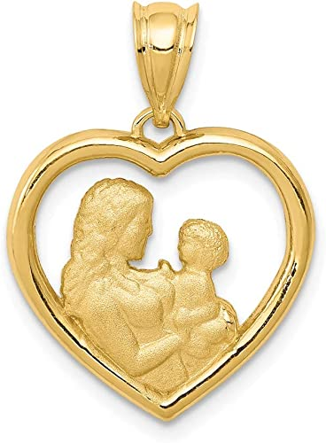 14k Yellow Gold Heart Mom Pendant