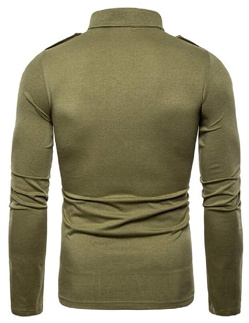 YYG Mens Solid Color Lapel Military Long Sleeve Regular Fit T-Shirt Tee