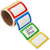 PAPRMA Nametag Labels, 200 Colorful Plain Name Stickers, Name Tags Stick On for Kids, Wall, Desk, Clothes, 3 1/2 X 2 1/4…